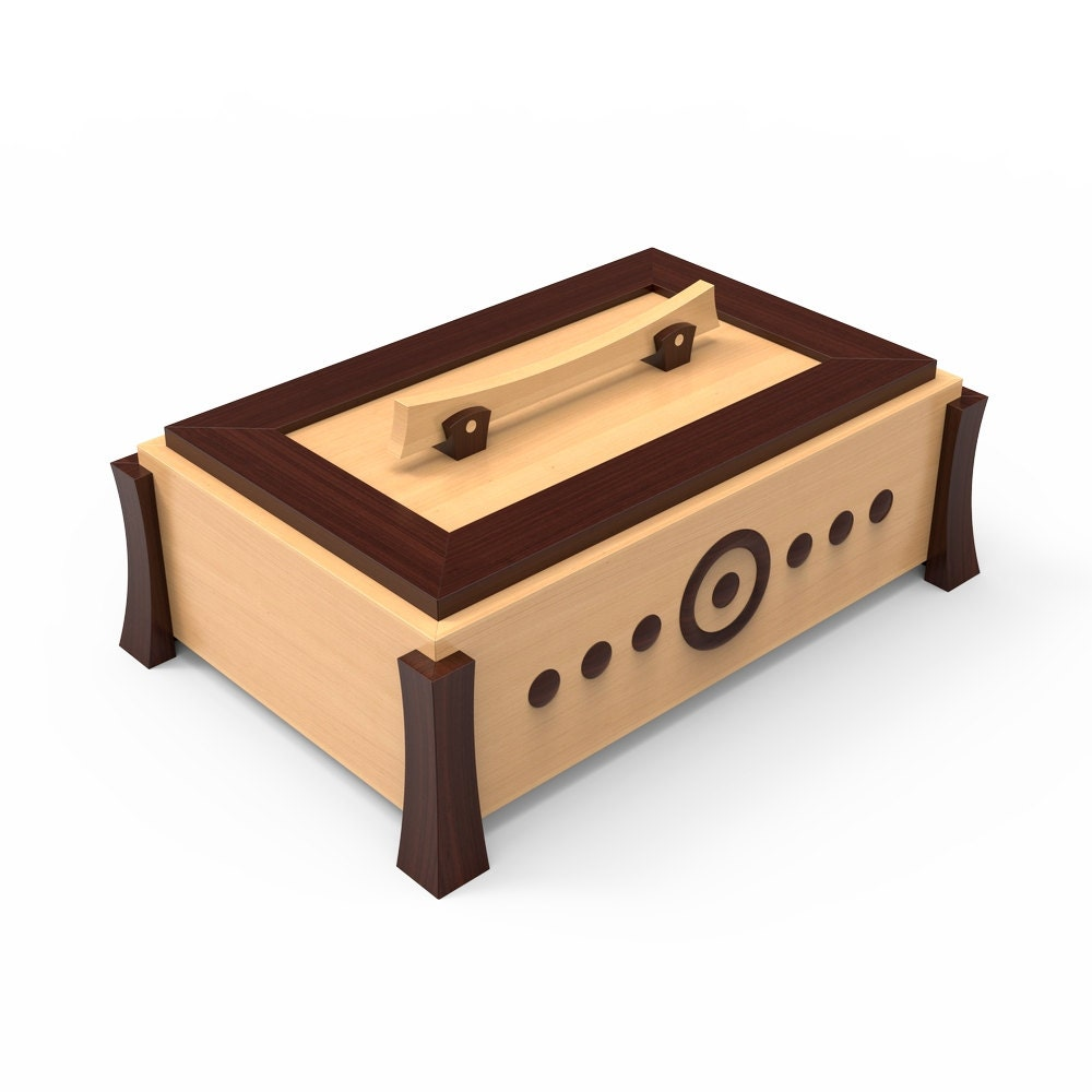 wooden box woodworking plans for diy #01. pdf digital file instant  download. make your own jewerly box. light wood, dark wood, hardwood
