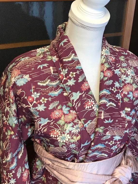 Purple antique kimono / vantage Japanese kimono