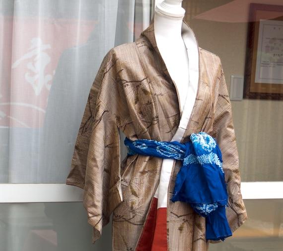 Brown kimono,vintage kimono,silk tsumugi,silk kim… - image 2