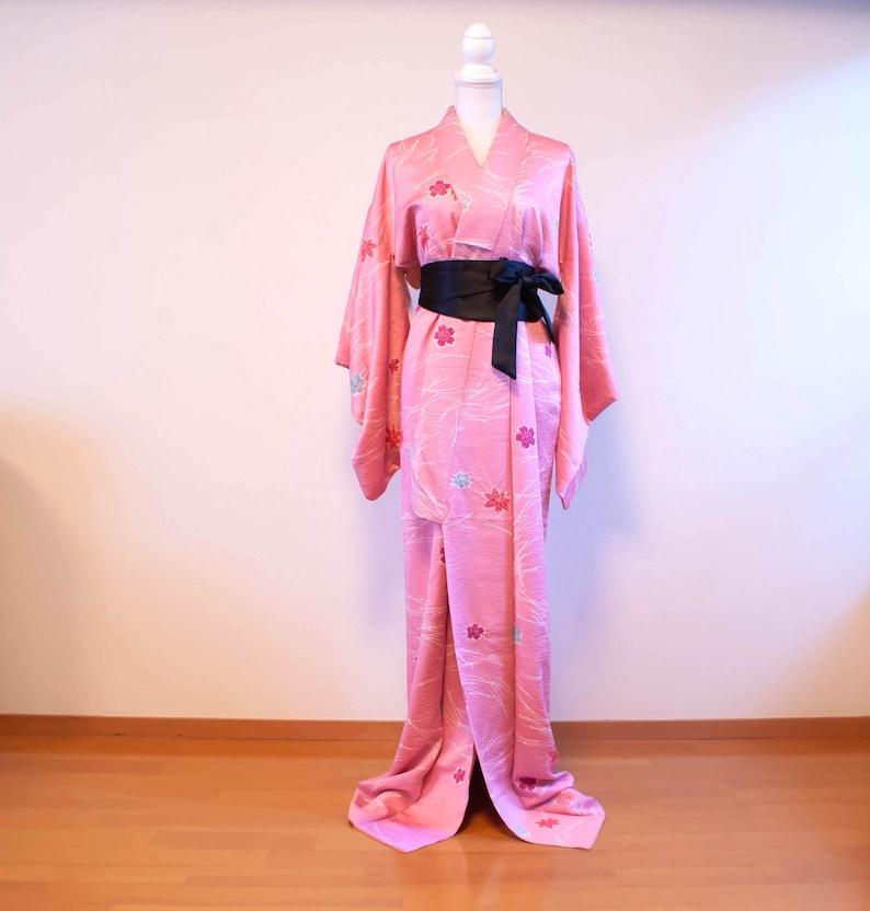 Pink flower komon silk kimono  vintage kimono dress
