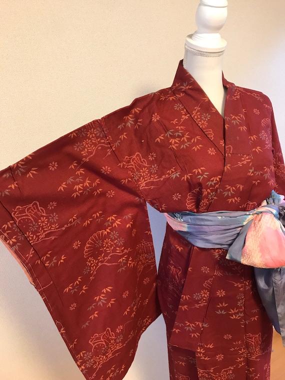Rose red vintage kimono, Japanese vintage kimono,a