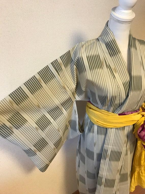 Green single tailoring kimono, vintage kimono,Japa