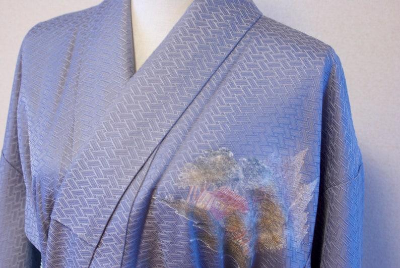 Blue silk kimono  Foumongi