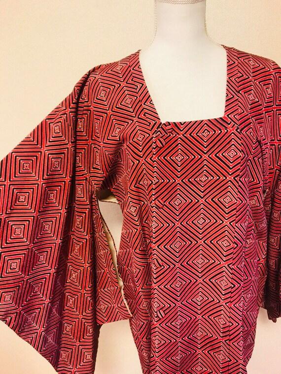 Some squares Pink kimono jacket/ kimono coat