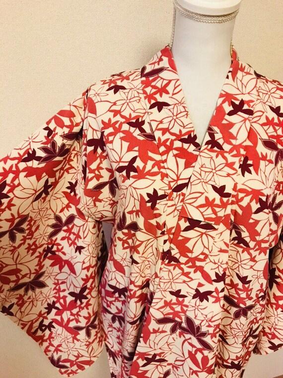 Pink and white,flower kimono,silk kimono, vintage… - image 9