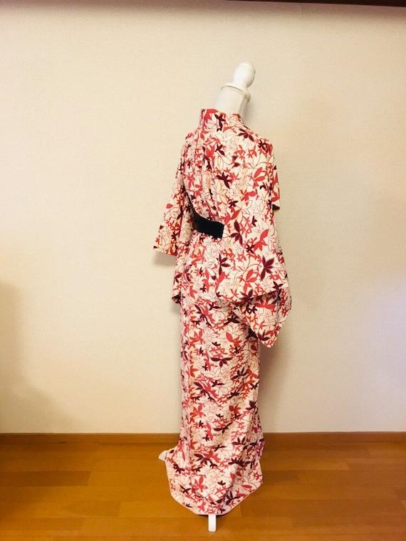 Pink and white,flower kimono,silk kimono, vintage… - image 8