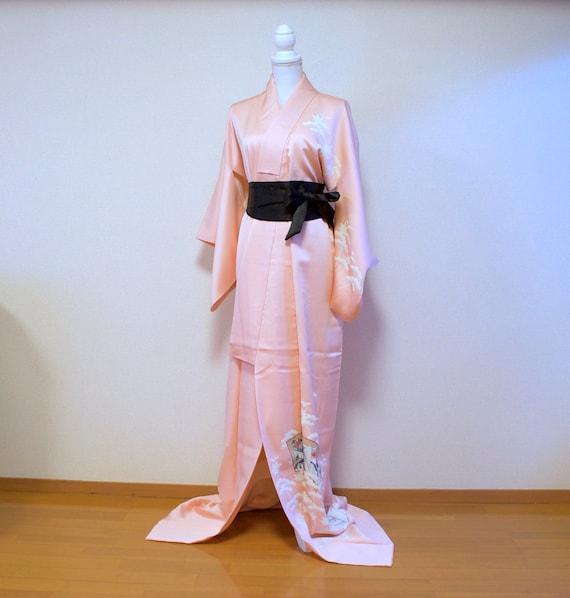Pink Tsukesage kimono / vintage silk kimono