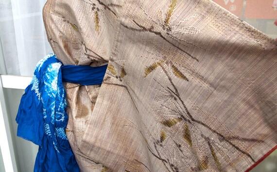 Brown kimono,vintage kimono,silk tsumugi,silk kimo