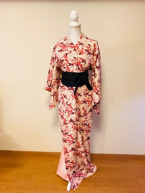 Pink and white,flower kimono,silk kimono, vintage… - image 2