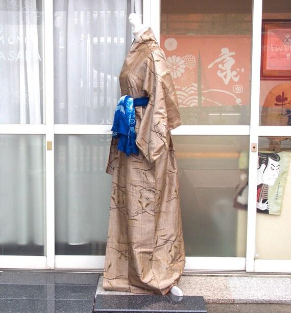 Brown kimono,vintage kimono,silk tsumugi,silk kim… - image 5