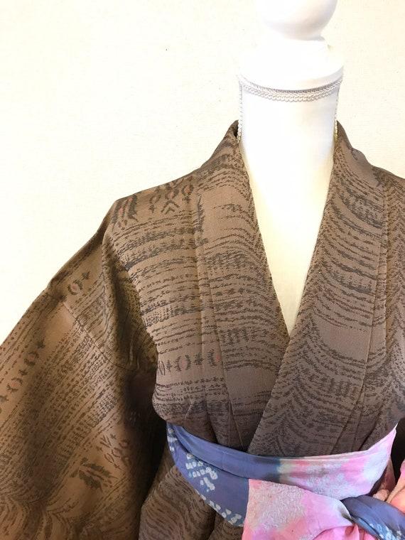 Brown vintage kimono,Japanese vintage kimono,antiq
