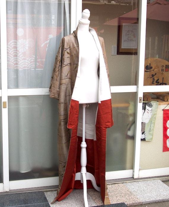 Brown kimono,vintage kimono,silk tsumugi,silk kim… - image 9