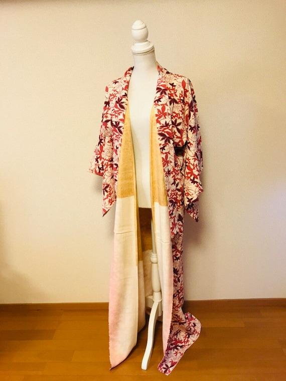 Pink and white,flower kimono,silk kimono, vintage… - image 10