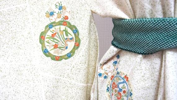 Green kimono,silk kimono,night robe,Japanese tradi