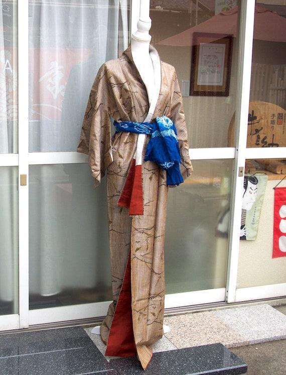 Brown kimono,vintage kimono,silk tsumugi,silk kim… - image 4