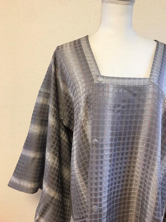 Gray purple Kimono coat/ Japanese vintage kimono c