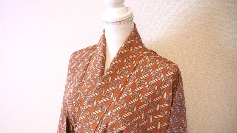 Brown silk kimono robe  japan vintage silk kimono