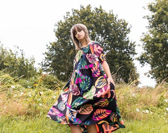 Leaf print smock dress, Dress with pockets, Loose fit dress