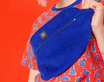 Blue Corduroy Bum Bag, Belt Bag, Cobalt Blue, Festival Wear, Crossbody Bag