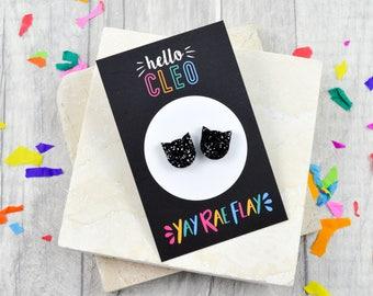Kitty Stud Earrings, Black Cat Earrings, Glitter Stud Earrings, Laser Cut Earrings, YAY RAE FLAY Collaboration