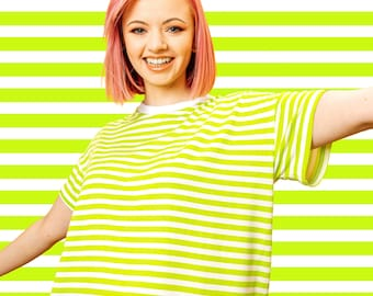 Lime Tee, Green Striped T-shirt, Loose fit T-shirt, Lime Green, Green and White top