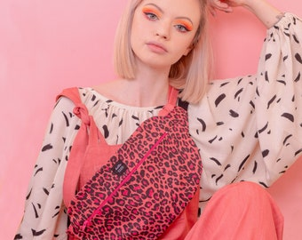 Pink Leopard Print Bum Bag, Belt Bag, Pink Print, Festival Wear, Bright Pink