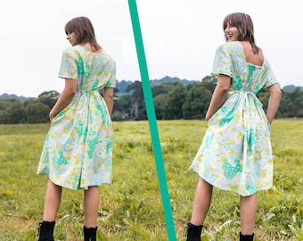 The 2-in-1-Dress, Vintage Floral Fabric Dress, Dress with pockets, everyday dress