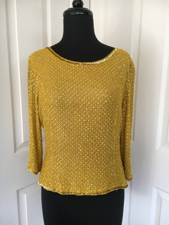 Vintage George Gross Gold Chartreuse Sequinned Bea
