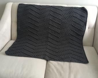 Gray handmade throw / blanket