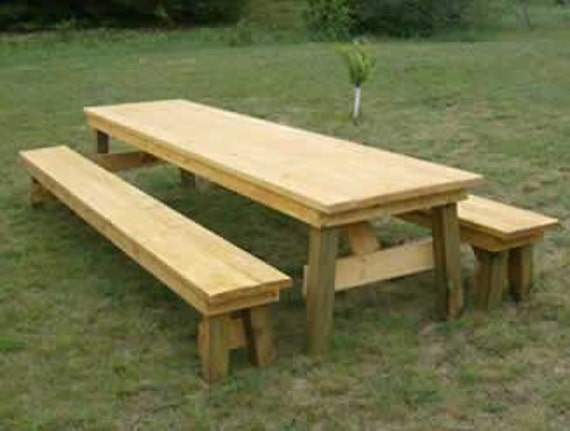 Classic Picnic Table With Separate Benches How To Plan Etsy