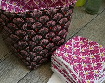 """12 pretty wipes/cotton washable and their basket """"African rose"""""""