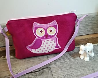"Pocket Moon, my first ""OWL"" suede handbag / wallet child, girl"