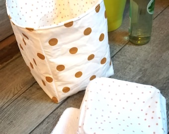 "12 pretty wipes/cotton washable and their basket ""peas and brass dots"""