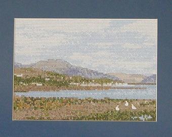 Lochcarron - a Scottish Highlands landscape cross stitch embroidery chart