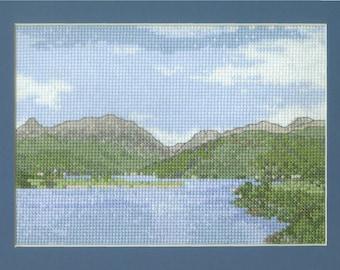 Glencoe from the Ballachulish Bridge - a Scottish Highlands landscape cross stitch embroidery chart