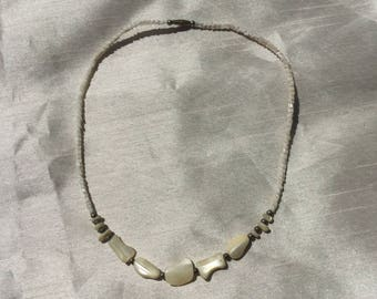 Vintage 1960 Cream Shell Beaded Necklace