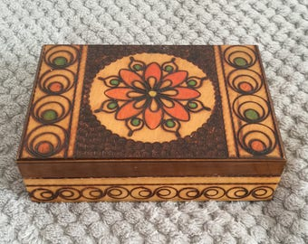 Vintage 1980s Wooden Box with Floral Etching