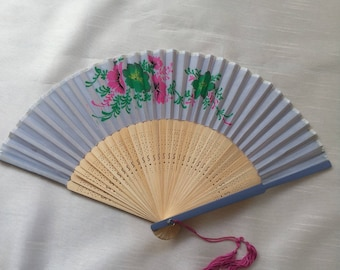 Vintage 1970s Wooden Decorative Fan With Floral Design Pretty Collectable Item