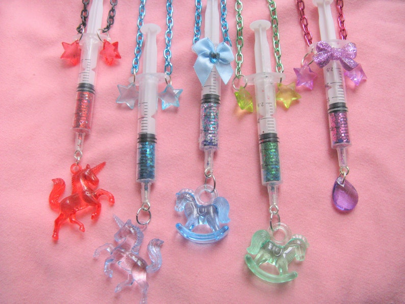 2bb1a8adc4d4 SALE Star Glitter Syringe Necklaces injection menhera