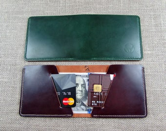 Shell Cordovan leather handmade compact wallet