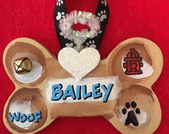 Personalized Wood Dog Bone Ornament