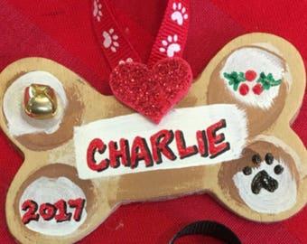 Personalized, Wood Dog Bone Ornament