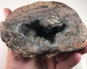 Geode With Grey Sparkly Druzy