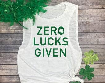 9a7238f5 Zero Lucks Given Shirt - Funny Muscle Tees - St Patricks Day Workout Tank -  St Pattys Day - Irish Running Shirt - Yoga Muscle Tank