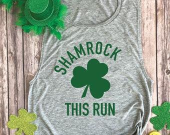3f175c7b0 Shamrock This Run - Funny Running Shirts for Women - Irish Tank Top -  Womens Muscle Tee - St Patty Day Tshirt - St. Paddy's Shirts