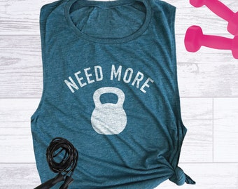 59f37ac19ac3e Need More Kettlebell Women s Workout Muscle Tank Top