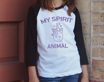 My Spirit Animal is a Unicorn - Girls Unicorn Shirt - Spirit Animal Shirt - Funny Unicorn Shirt - Unicorn Raglan Shirt Girls - Unicorn Gift