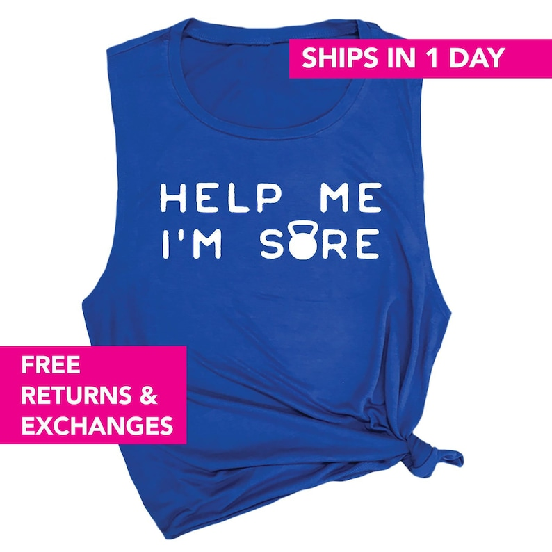 0abae77b559f63 Help Me I m Sore Funny Workout Muscle Tank for Women