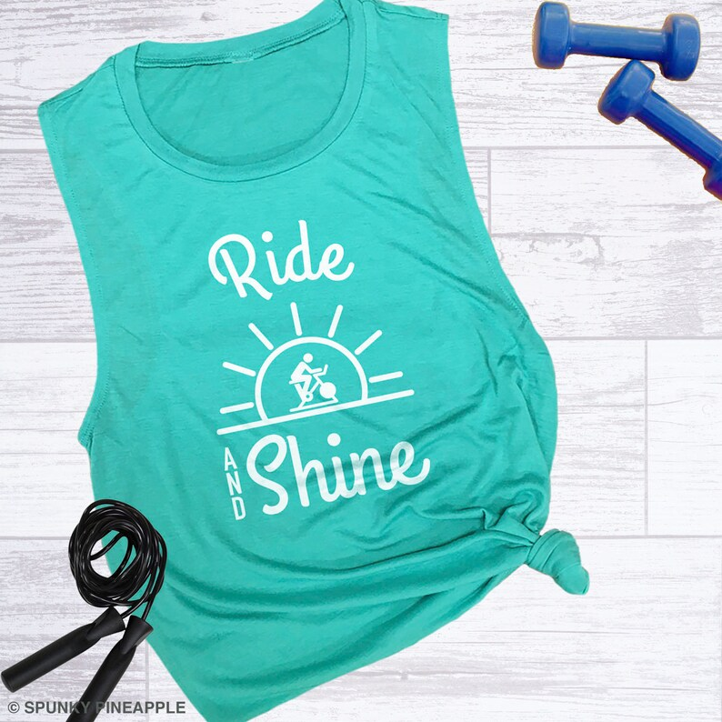 e95df030 Spin Tanks for Women, Ride and Shine Muscle Tee, Cute Workout Clothes