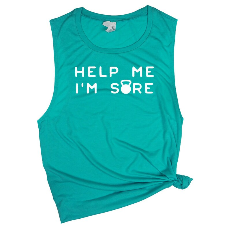 Funny Workout Muscle Tank for Women Help Me I/'m Sore Kettlebell Shirts for Women